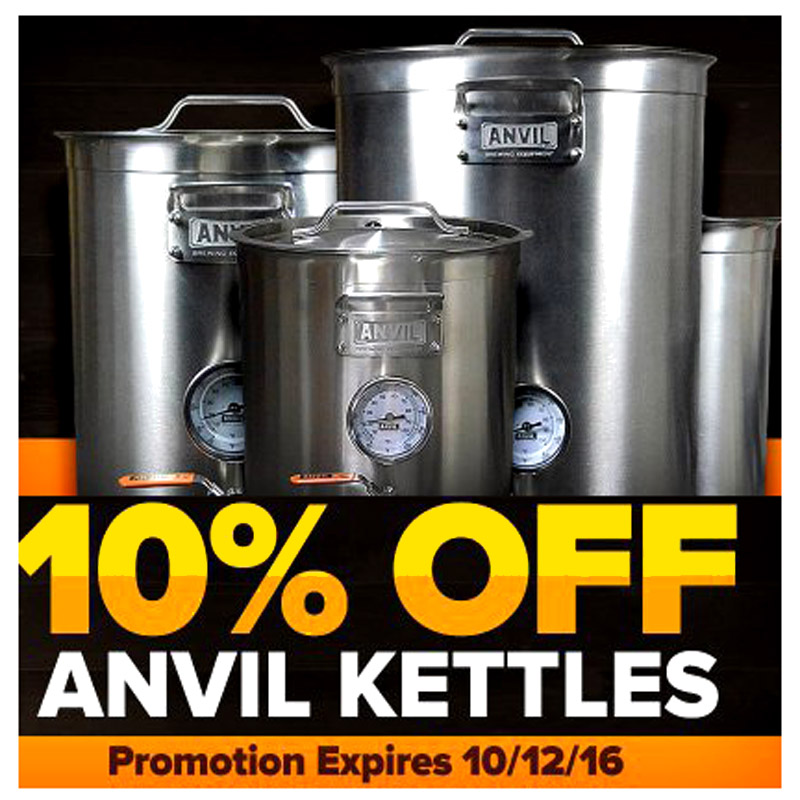 Take An Extra 10% Off Anvil Homebrewing Kettles Coupon Code