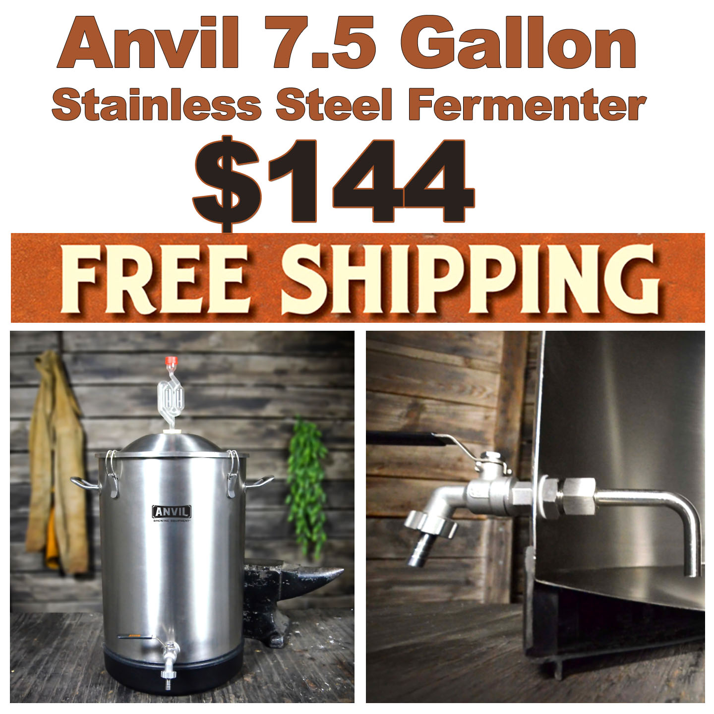 Get an Anvil 7.5 Gallon Stainless Steel Fermenter for Just $144 Plus Free Shipping with this Anvil Promo Code Coupon Code
