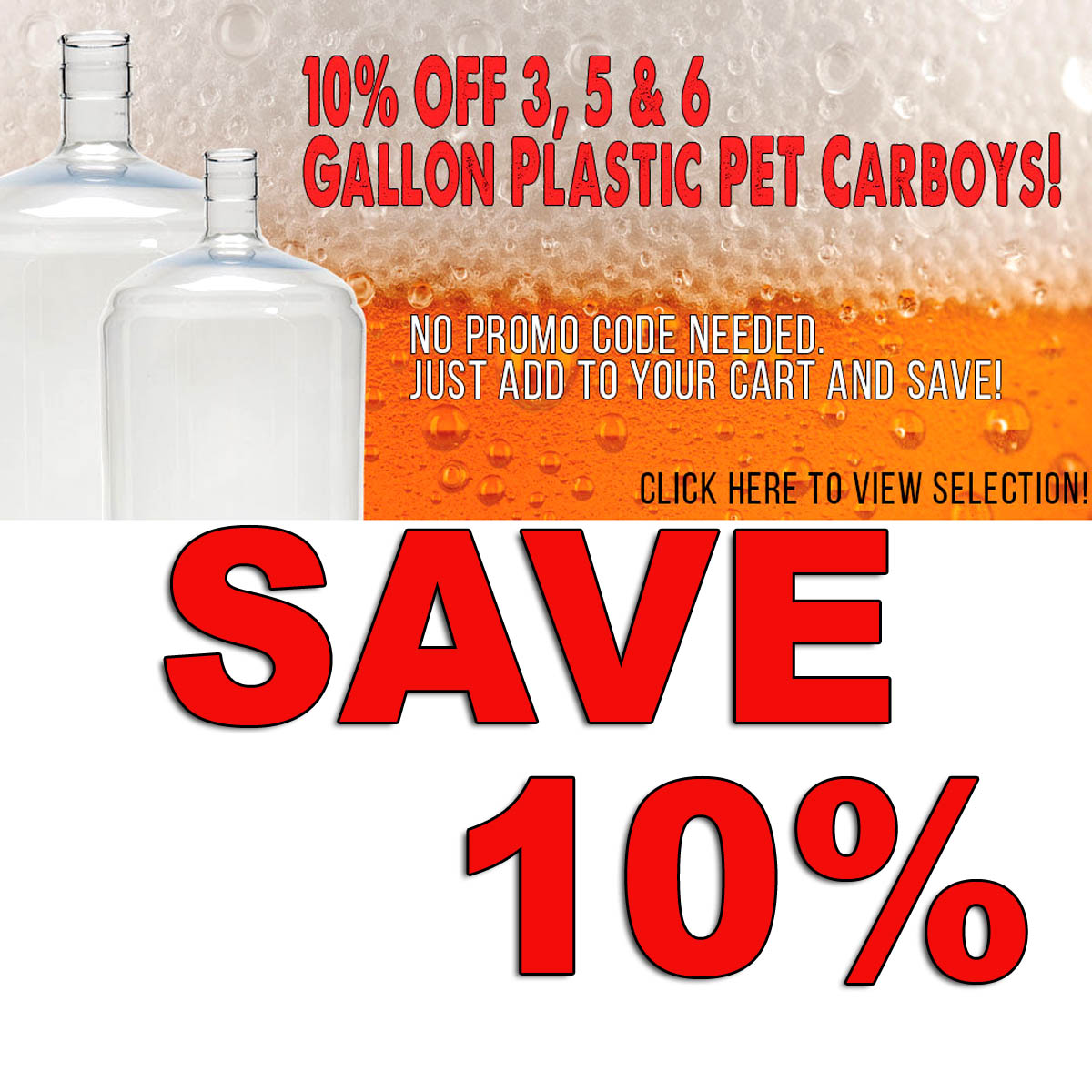 Save 10% On PET Plastic Carboys + Free Shipping Over $59 Coupon Code
