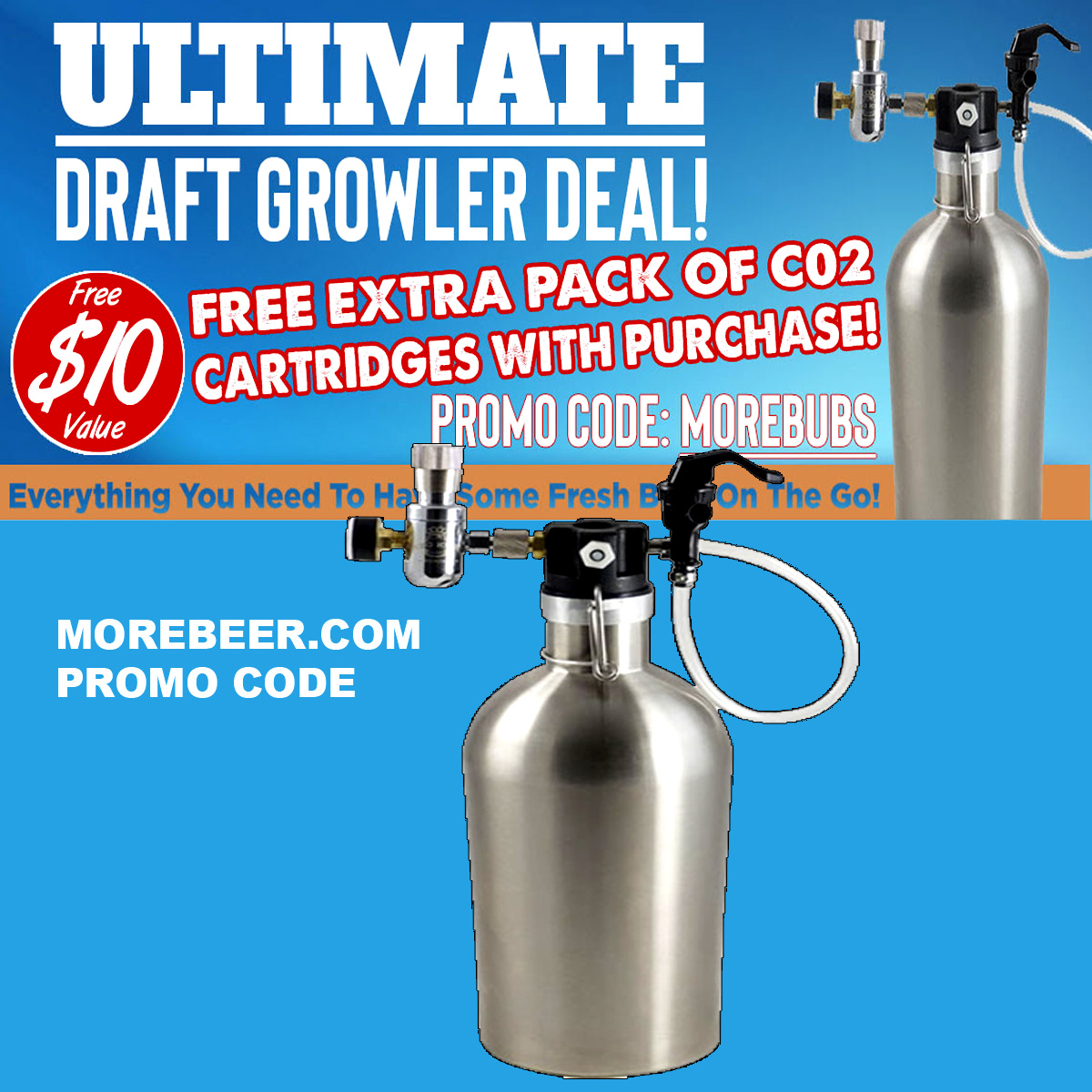 MoreBeer Get A Free Extra Pack Of CO2 Cartridges with the Purchase Of Ultimate Draft Growler MoreBeer.com Promo Code Coupon Code