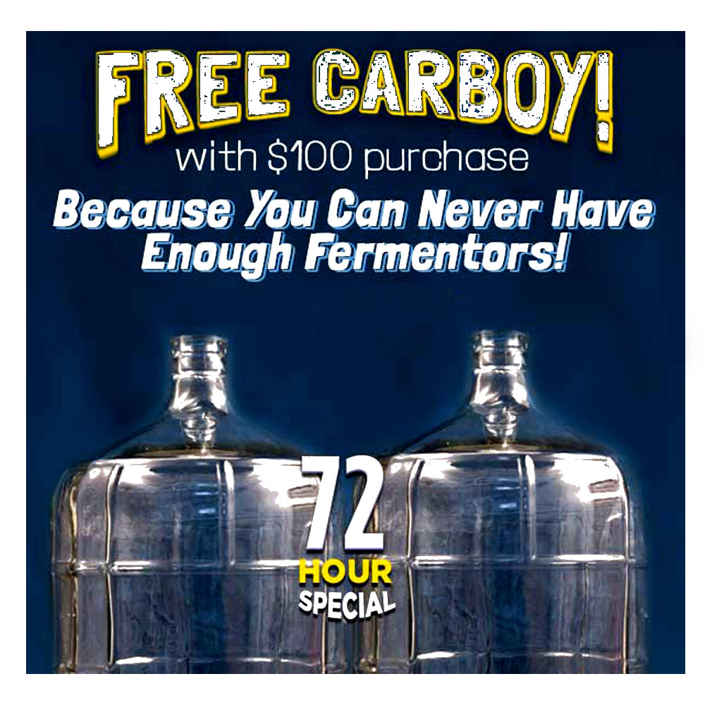 Spend $100 at NorthernBrewer.com and Get A Free Glass Carboy Coupon Code
