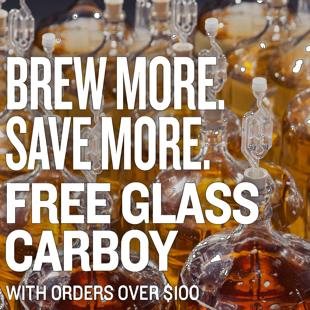 Get a Free Glass Carboy On Orders Over $100 Sale