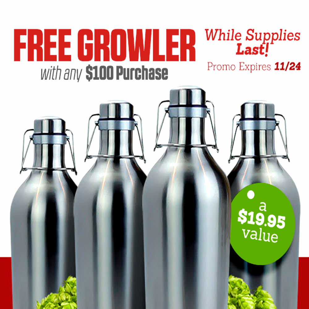Get a Free Stainless Steel Growler with a $100+ Purchase Coupon Code
