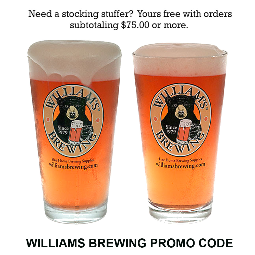 Spend $75 At William's Brewing and Get 2 FREE Pint Glasses Coupon Code