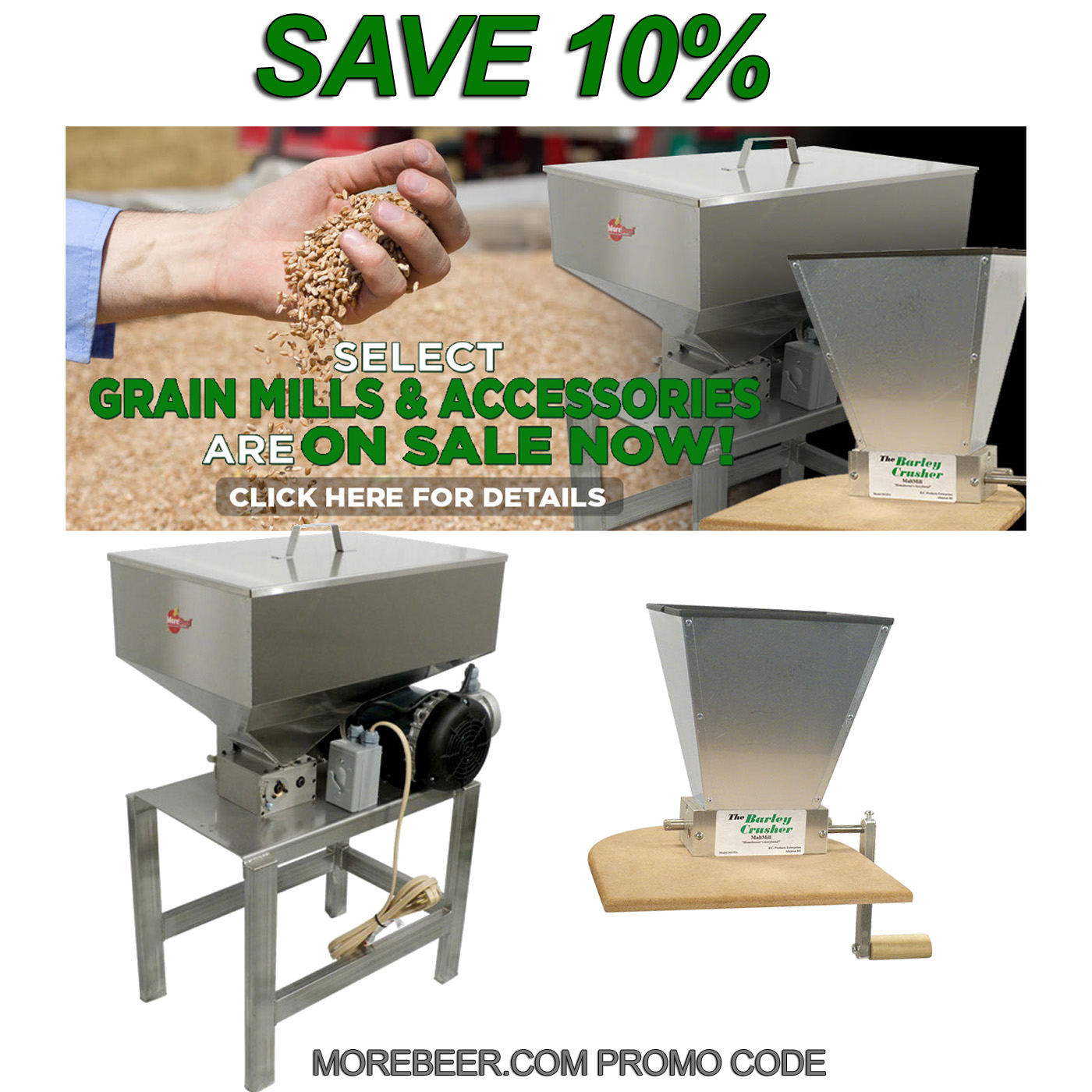 Save 10% On MoreBeer Grain Mill Products Coupon Code