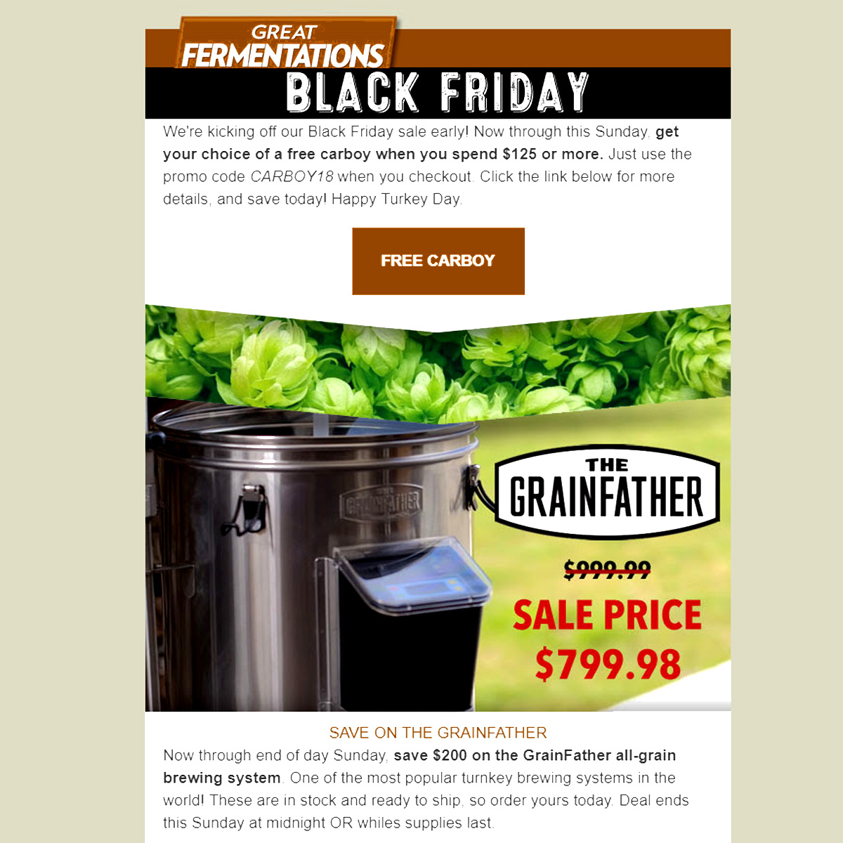 Great Fermentations Save $200 On A Grain Father and Get A FREE Carboy With This Great Fermentations Black Friday Sale Coupon Code