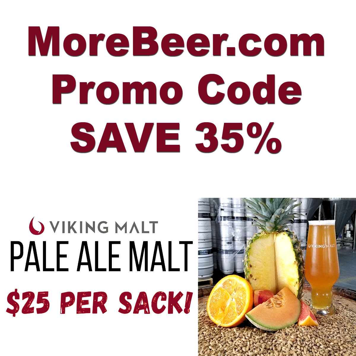 MoreBeer Get a 55 LBS Sack of Viking Pale Ale Malt for Just $25 at MoreBeer.com With Promo Code Coupon Code