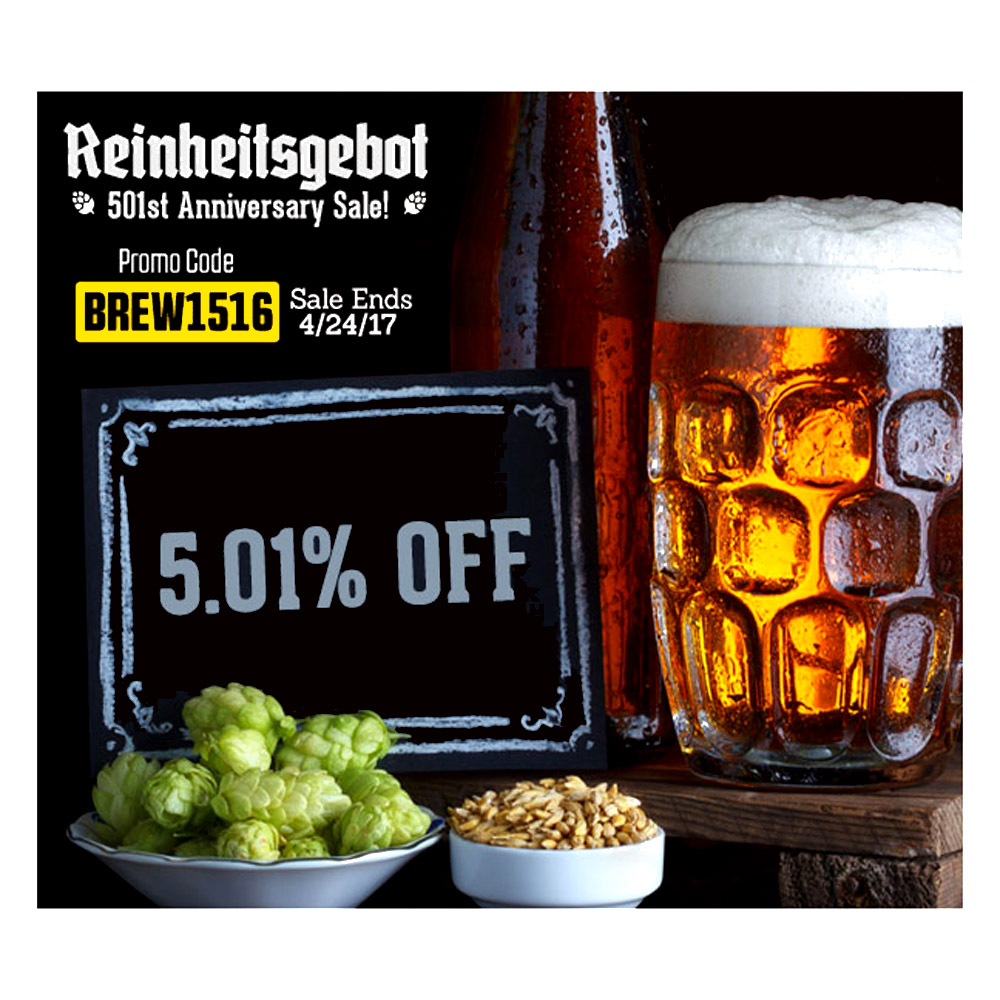 Save 5% On Grain, Hops and Yeast! Promo Codes