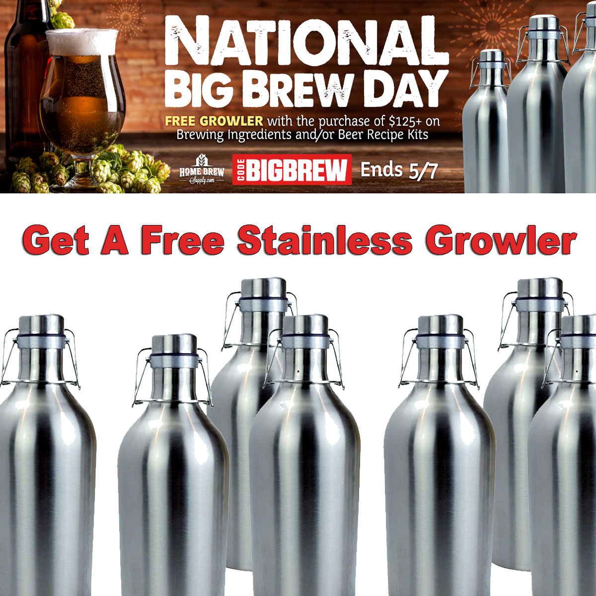 Spend $125 At Homebrew Supply and Get a Free Stainless Steel Growler Promo Codes