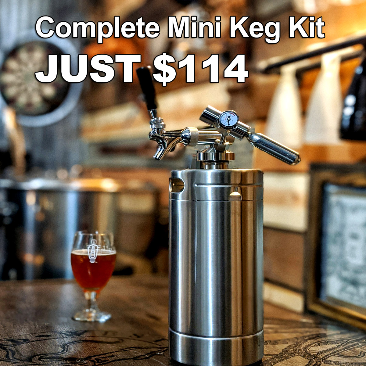Get a Complete Stainless Steel 128oz Mini Keg System for Just $114, Plus FREE SHIPPING; while this deal lasts! Coupon Code