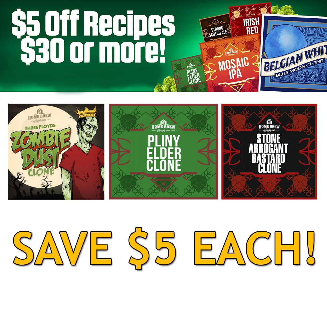 $5 Off Any Home Brewering Beer Recipe Kit That Cost $30 or More Coupon Code