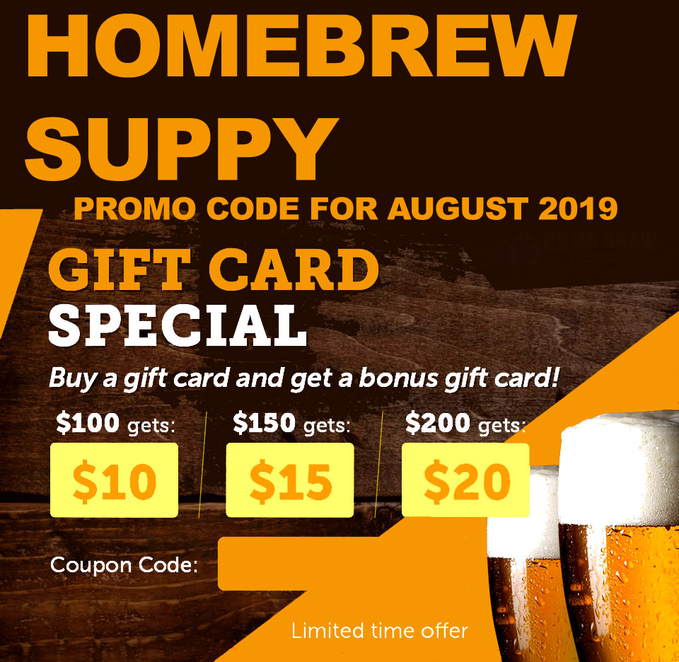 Homebrew Supply Get a Free Homebrewing Giftcard With Your HomebrewSupply.com Purchase Coupon Code Coupon Code