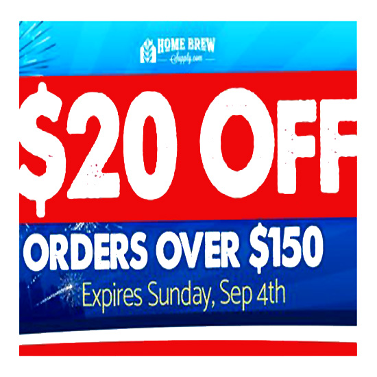 Save $20 on HomebrewSupply.com Orders of $125+ Coupon Code