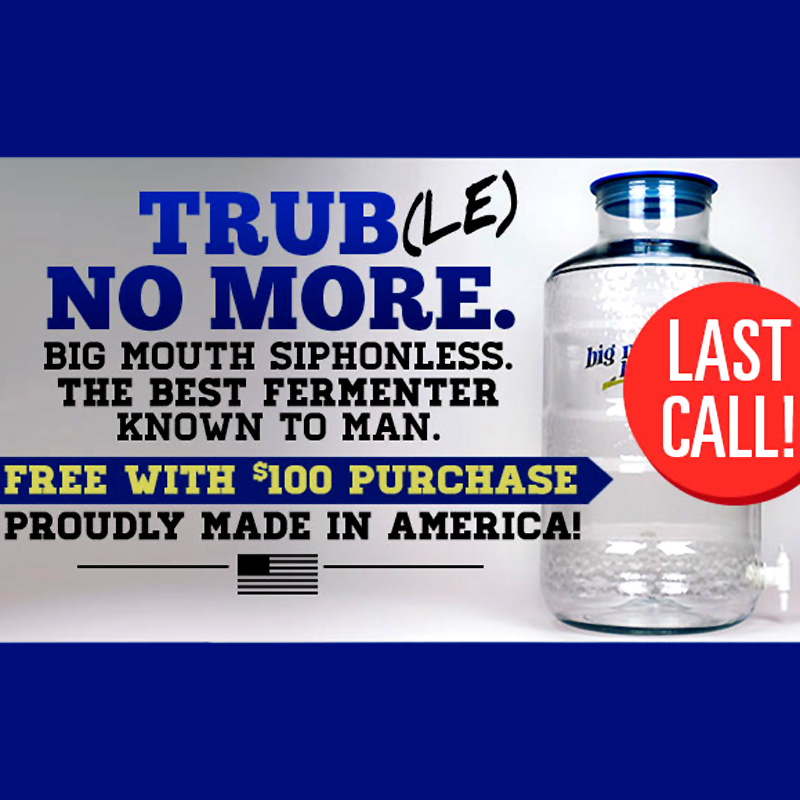 Free Carboy with $100 Purchase Coupon Code