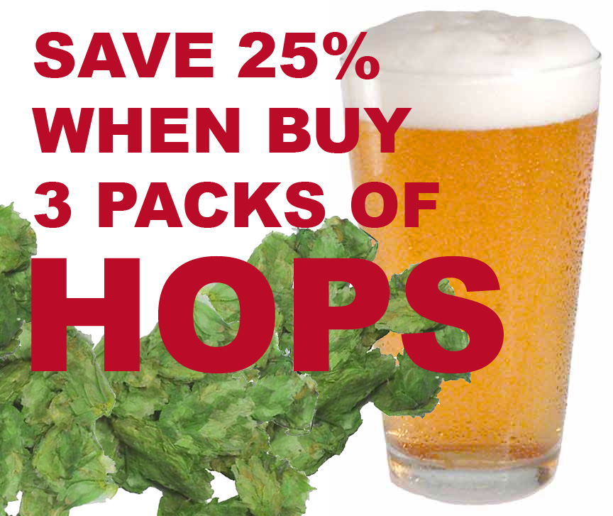Save 25% On All US Grown Hops When You Buy 3 Packs Or More! Coupon Code
