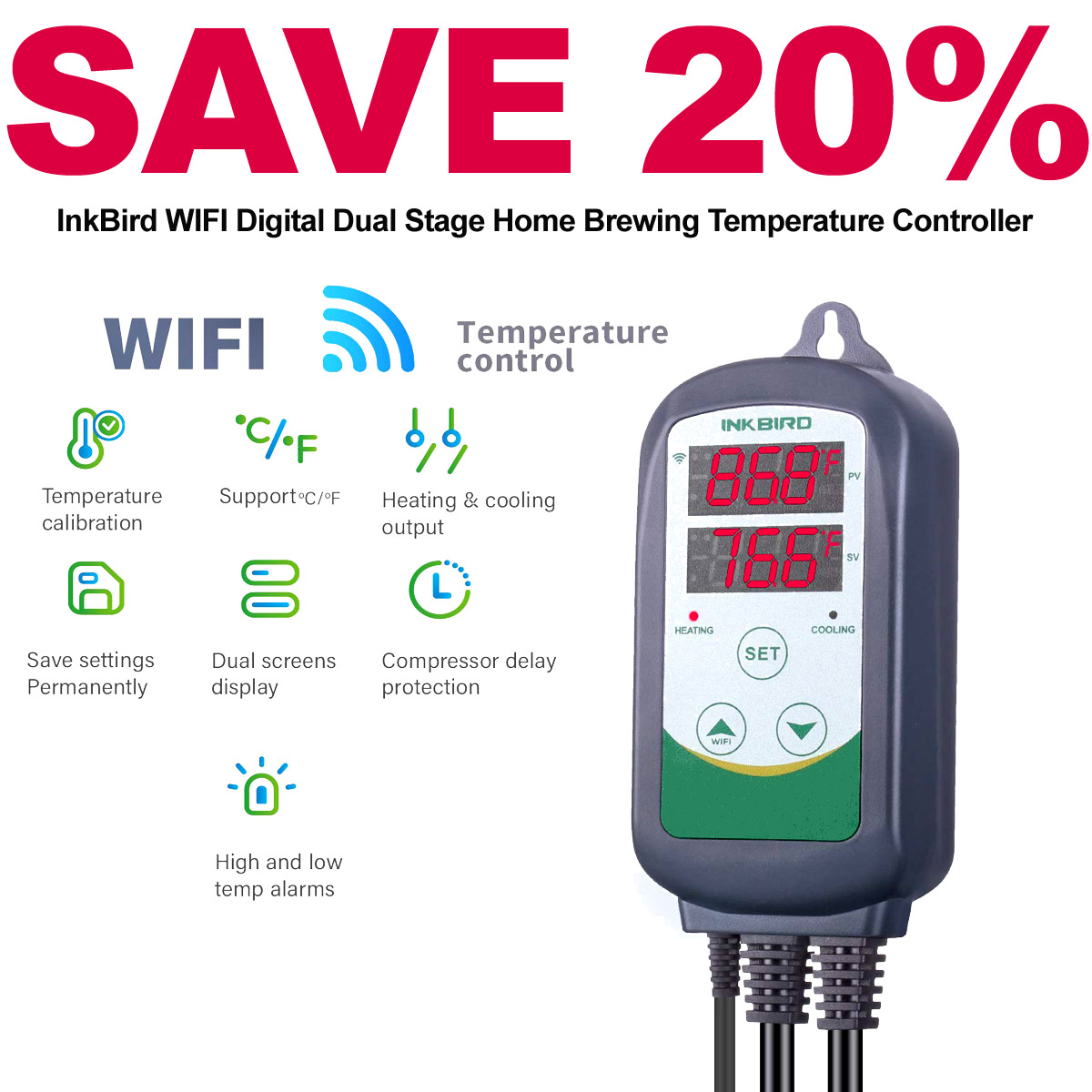 Home Brewing Promo Code Save 20% On An Inkbird Dual Stage Temperature Controller with WIFI Connectivity with this INKBIRD Promo Code. Plus get FREE Shipping. Coupon Code