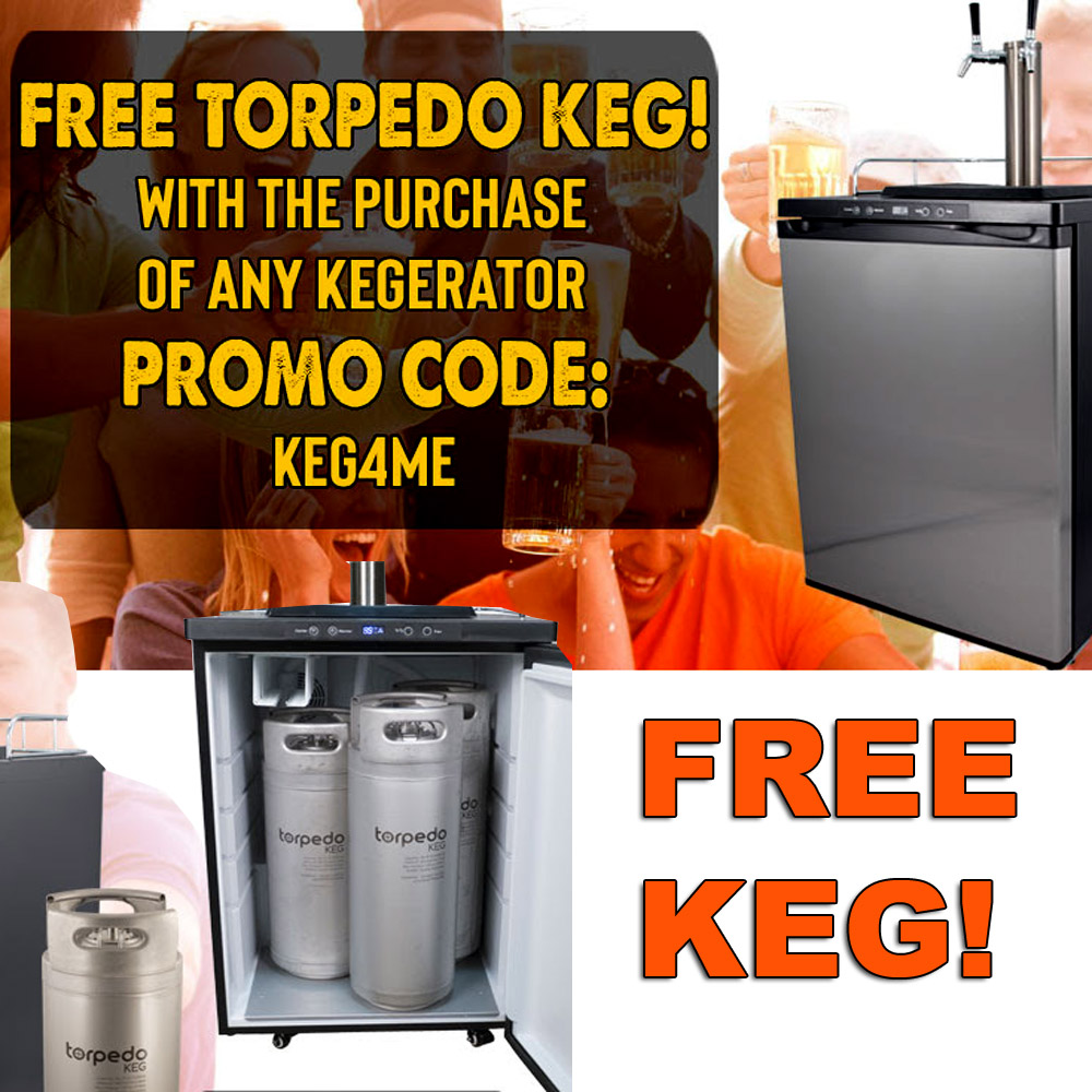 Get A FREE 5 Gallon Torpedo Keg With The Purchase of Any Kegerator Coupon Code