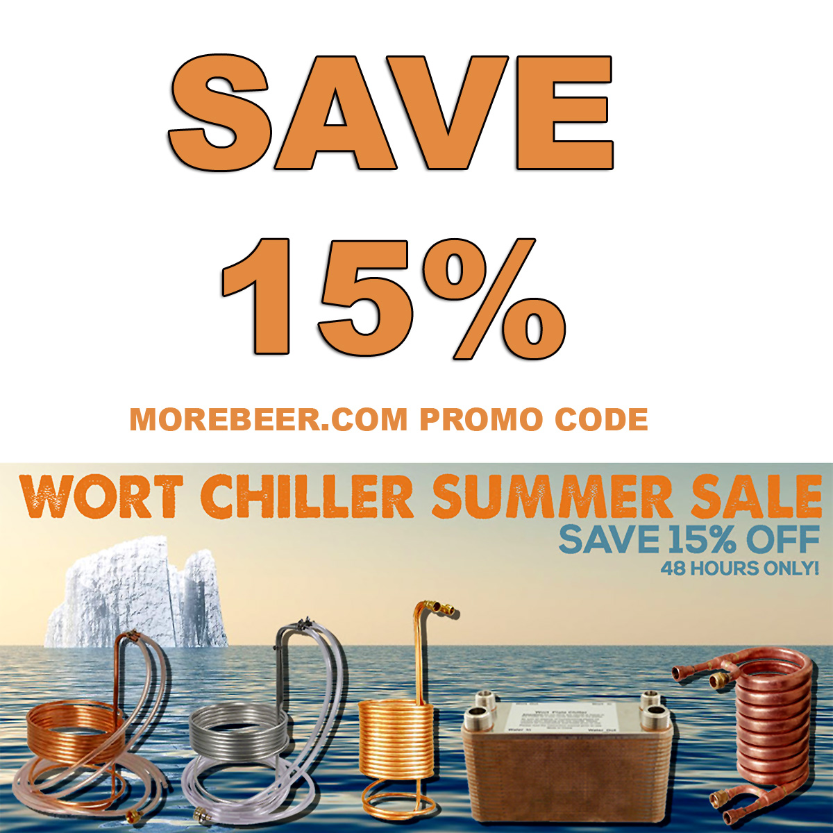 MoreBeer Save 15% On Wort Chillers at MoreBeer.com With Promo Code Coupon Code