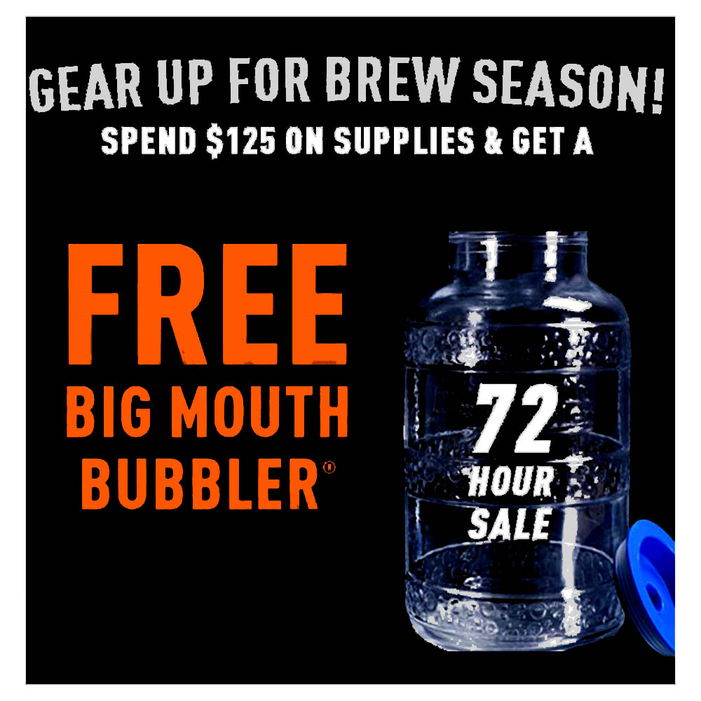 GET A FREE BIG MOUTH BUBBLER CARBOY WITH A PURCHASE OVER $125 Coupon Code