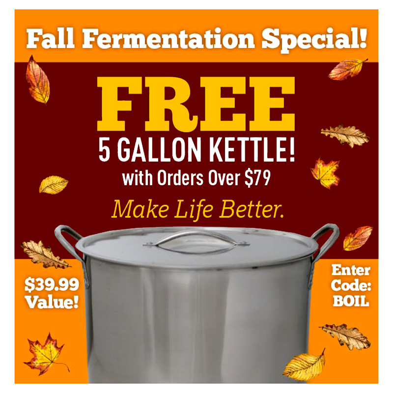 Free 5 Gallon Kettle With a $79 Purchase Coupon Code