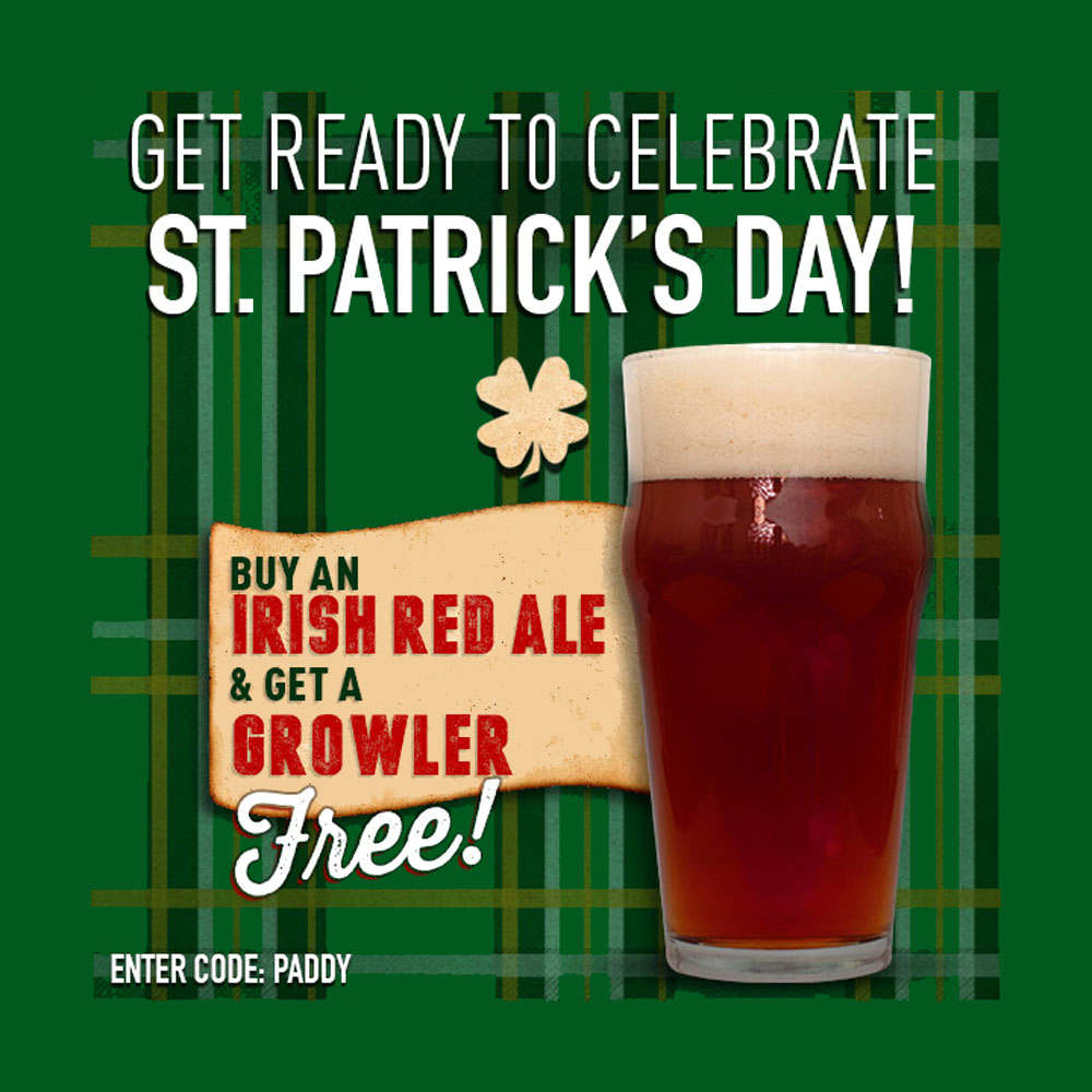 FREE GROWLER WITH PURCHASE OF AN IRISH RED ALE Coupon Code