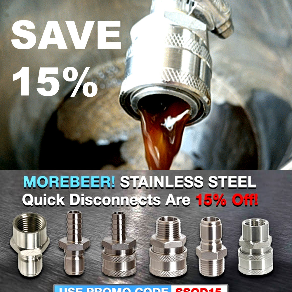 Save 15% On Stainless Steel Quick Disconnects at MoreBeer.com Coupon Code