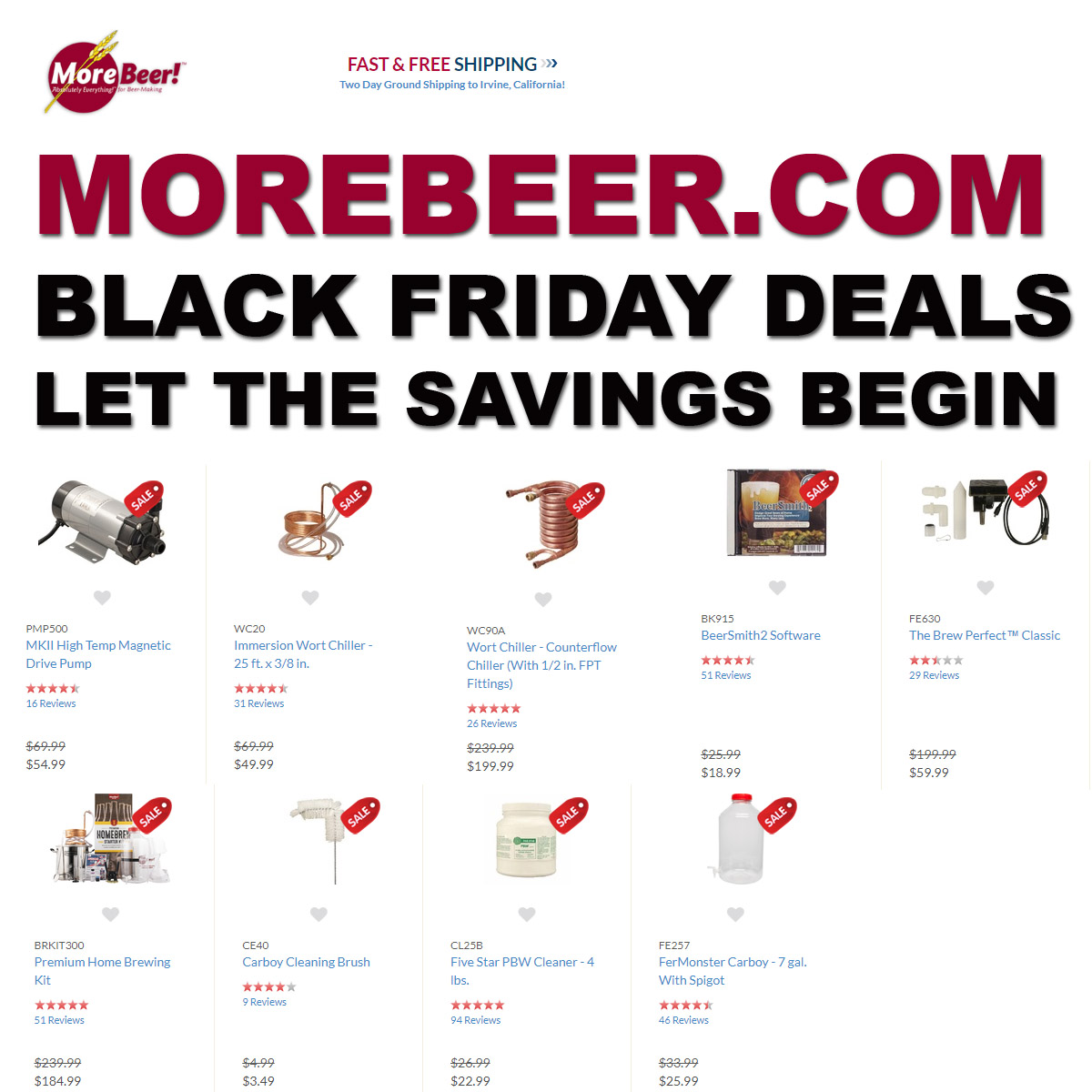 MoreBeer Save Up To 75% On Popular Homebrewing Items with this MoreBeer.com Black Friday Promo Code.  Plus get Free Shiping on orders over $59! The MoreBeer Black Friday Sale! Coupon Code