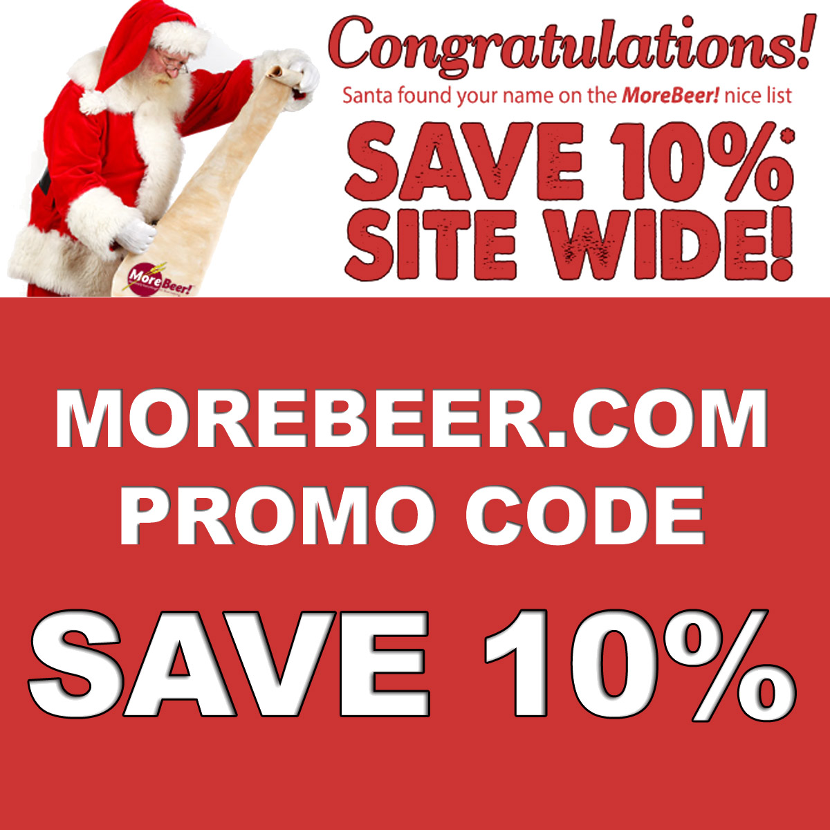MoreBeer Save An Additional 10% At More Beer with MoreBeer.com Coupon Code NICELIST Coupon Code