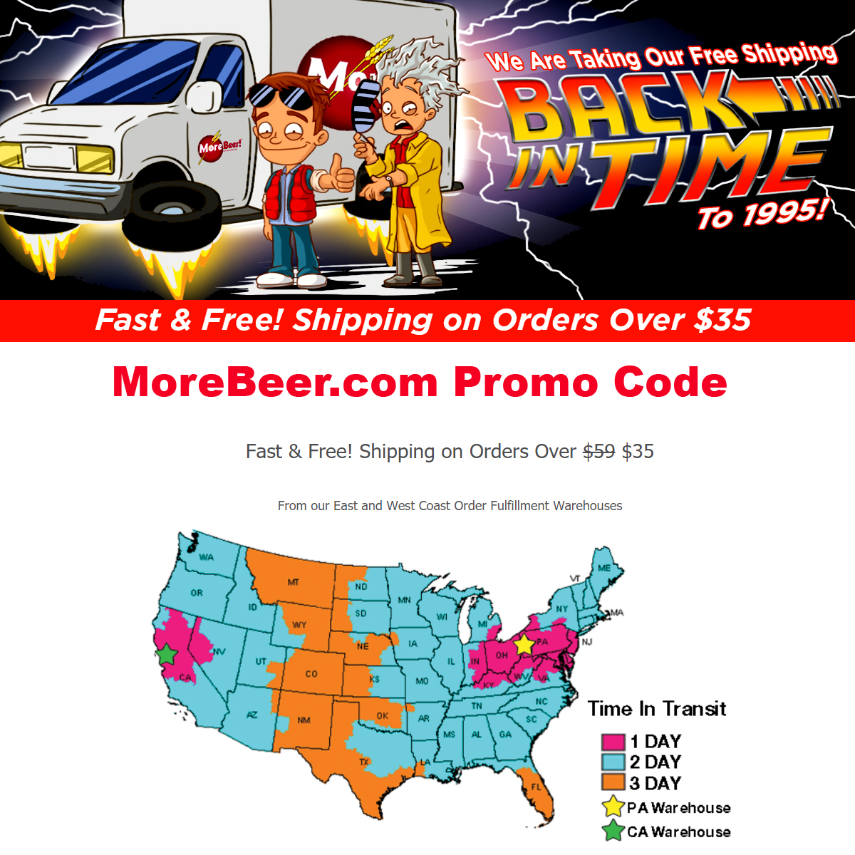 MoreBeer Get free shipping at MoreBeer.com on orders over $35 Coupon Code Coupon Code