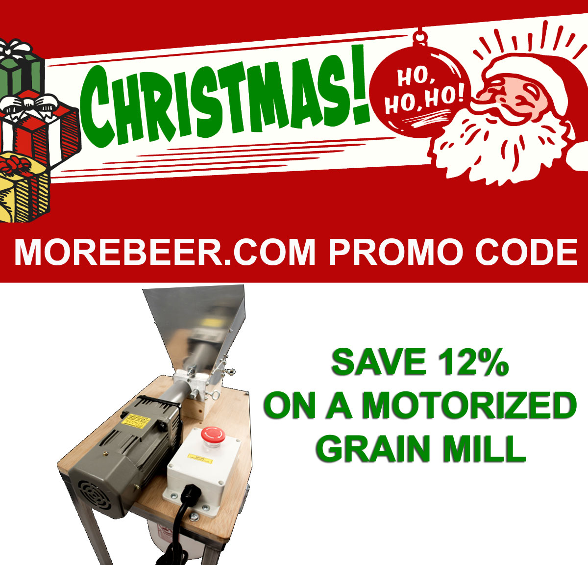 Save 12% On A Motorized Malt Mill at More Beer! Coupon Code