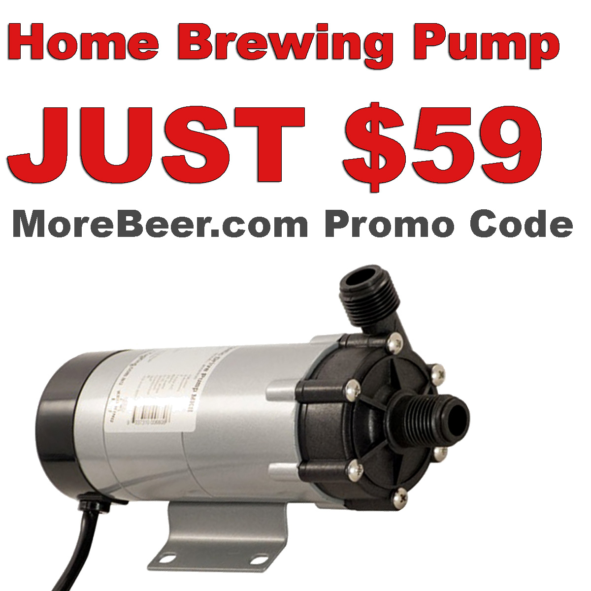 MoreBeer Use MoreBeer.com promo code BEERDEAL and get this Homebrewing Pump for Just $59 plus free shipping while supplies last! Coupon Code
