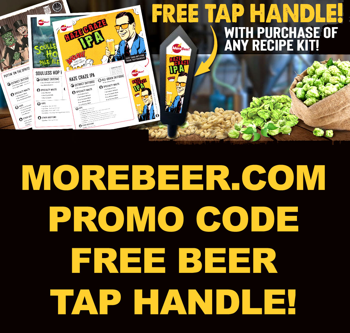 Get A Free Tap Handle With Purchase Of Any Recipe Kit With This MoreBeer.com Promo Code Coupon Code