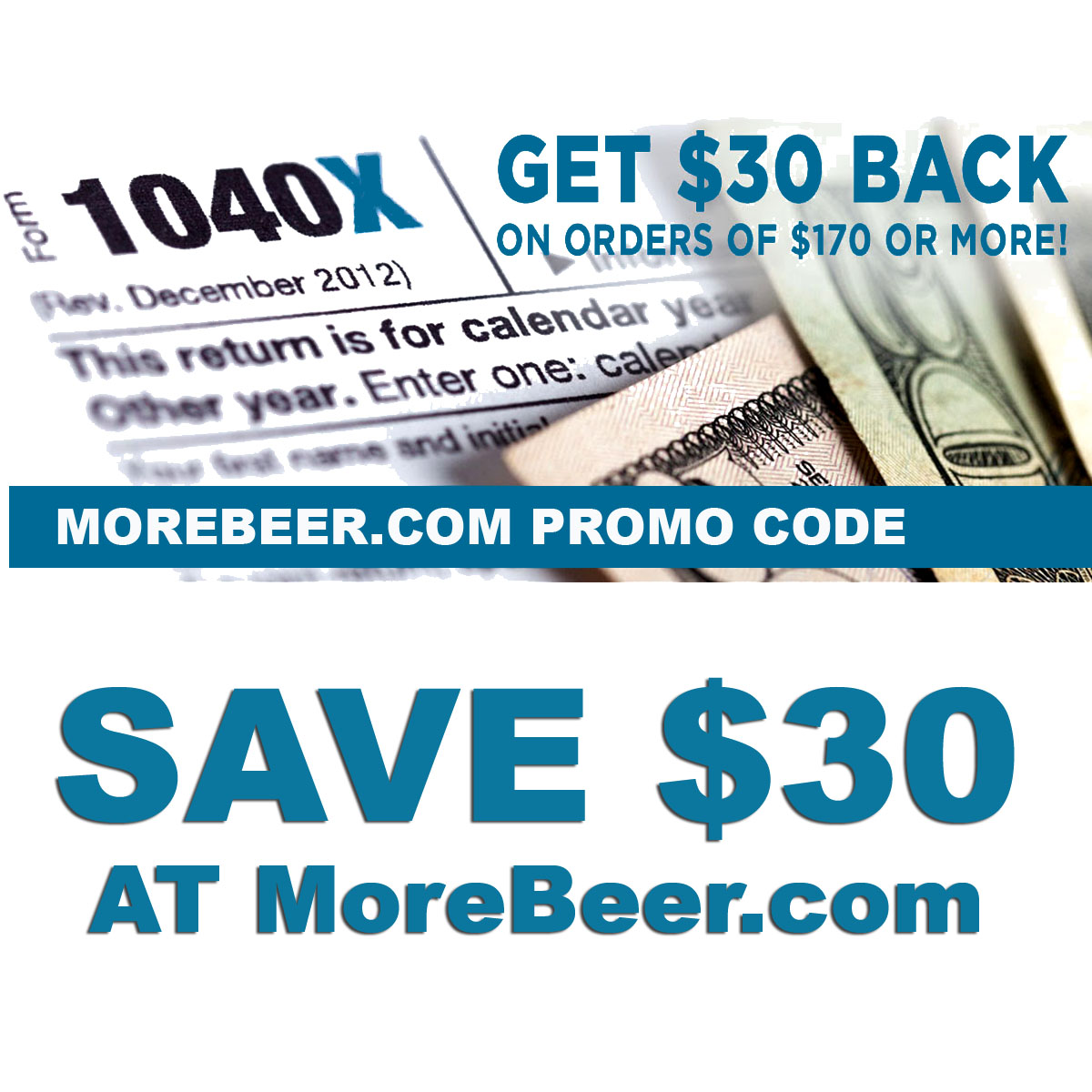 MoreBeer Get $30 Back On Orders Of $170 Or More at MoreBeer.com when you use this More Beer Promo Code Coupon Code