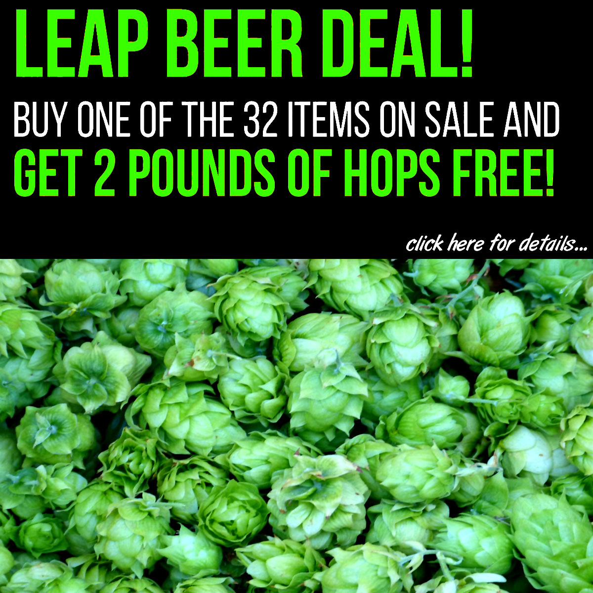 MoreBeer Use this MoreBeer.com promo code, purchase a More Beer Sale Item and get 2 Pounds of Hops for Free. Coupon Code
