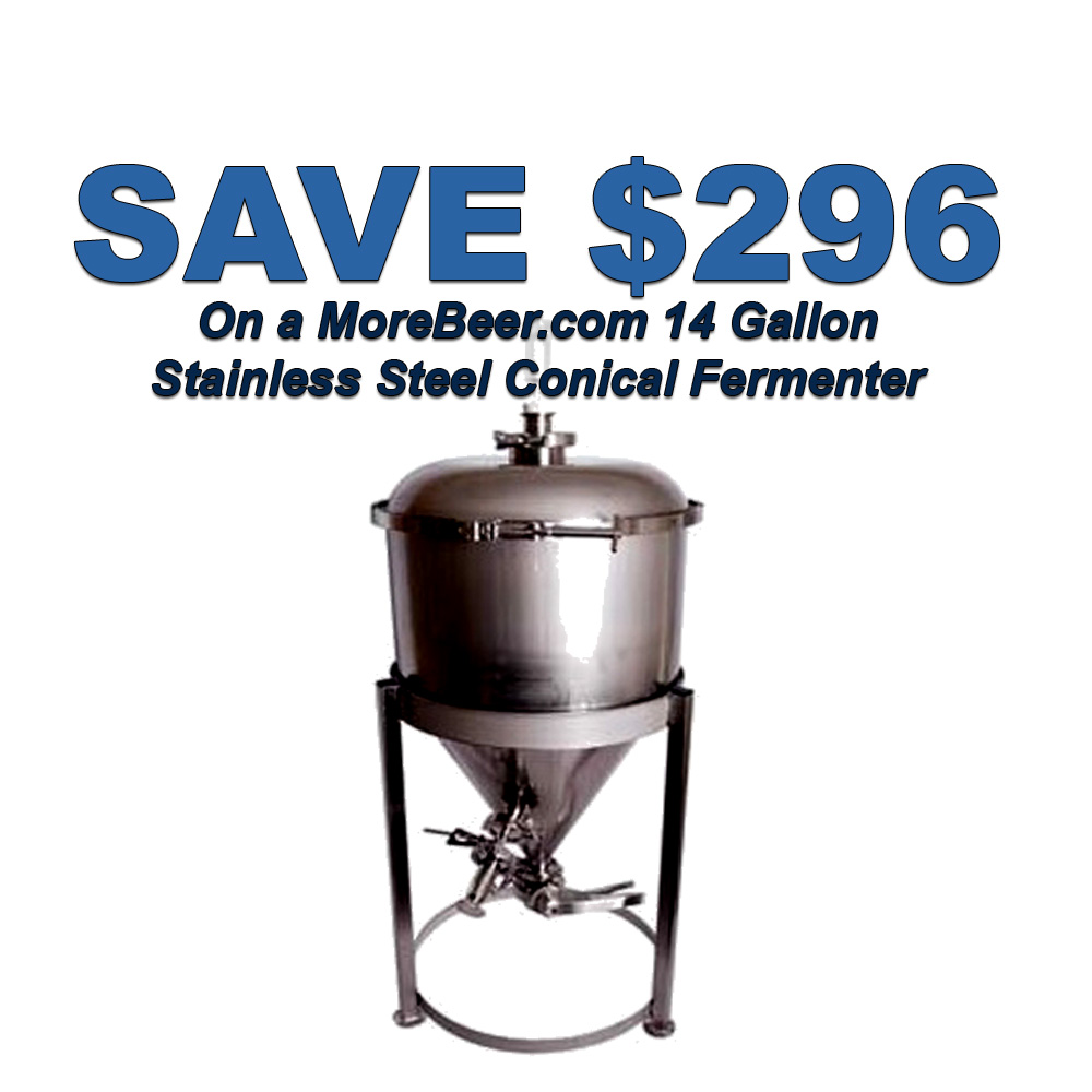 Save $296 On A MoreBeer Stainless Steel Conical Fermenter Coupon Code