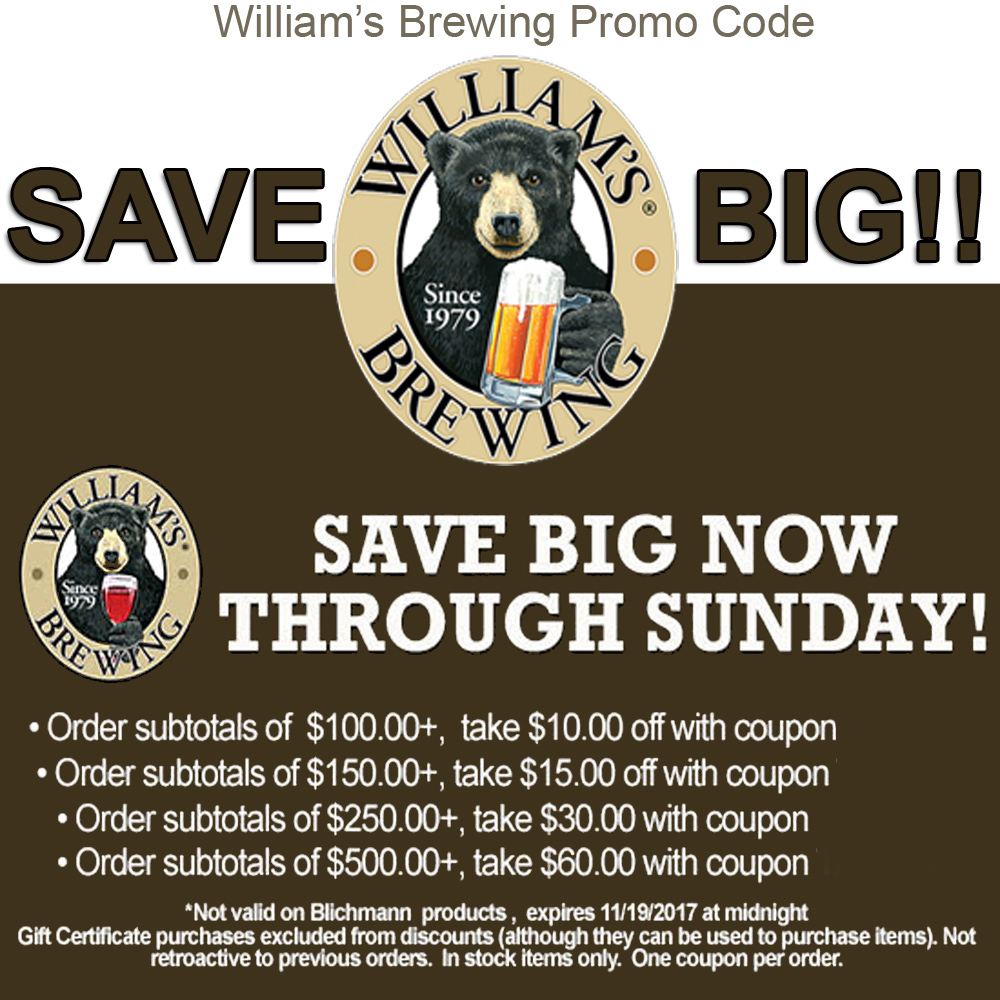 Save Big At Williams Brewing. Save Up To $60 Off Your Order! Coupon Code