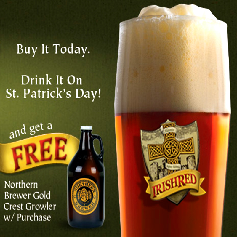 Free Homebrew Growler with Purchase of an Irish Red Ale Beer Kit Coupon Code