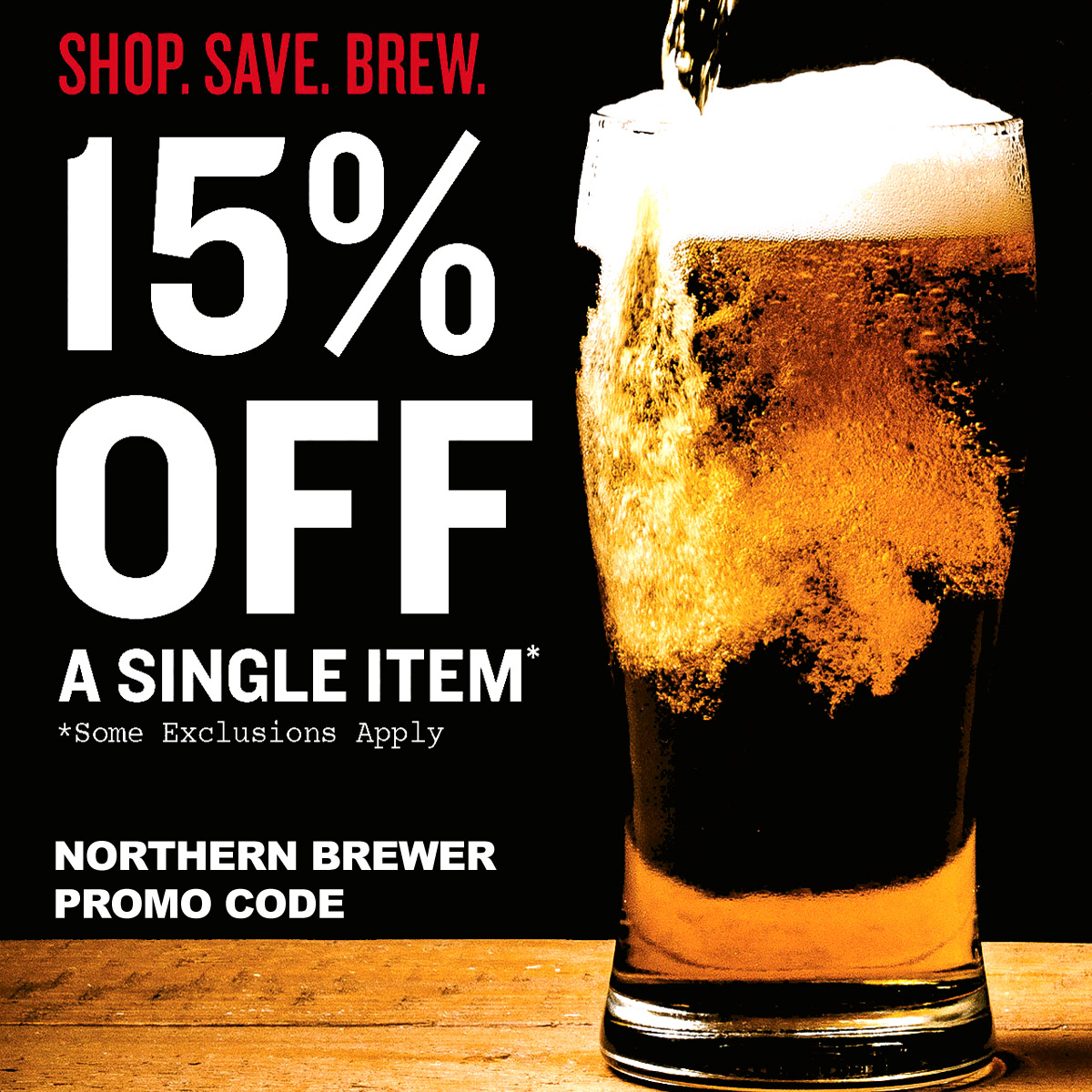 Northern Brewer Use this Northern Brewer promo code and save 15% On A Single Item at Northernbrewer.com Coupon Code