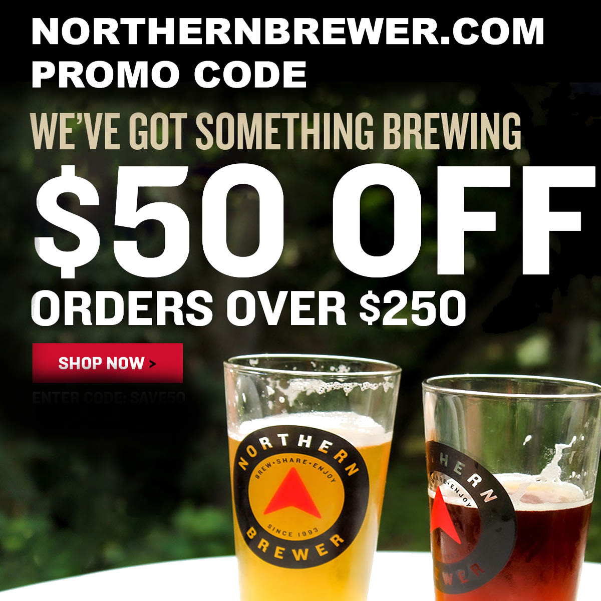 Northern Brewer Save $50 Off Orders of $250 Or More With This NorthernBrewer.com Promo Code Coupon Code
