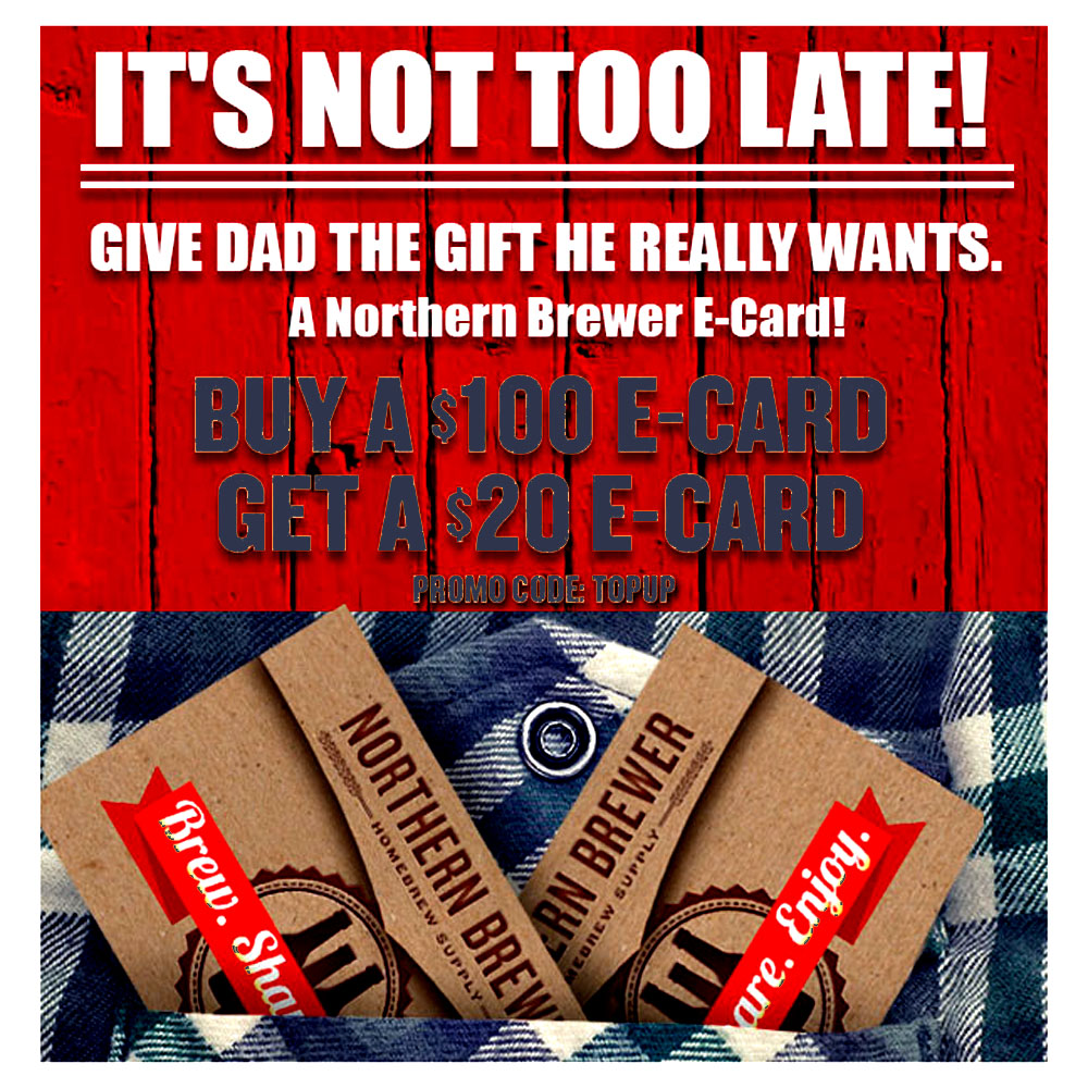 Buy A $100 Homebrewing Gift Card and Get A $20 E-Card FREE! Coupon Code