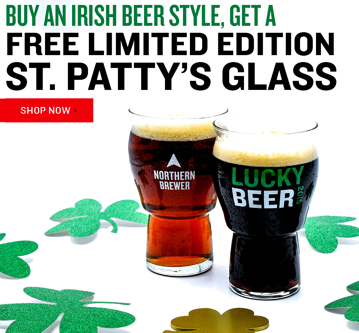 Northern Brewer Buy an Irish Red Ale or Dry Irish Stout Recipe Kit And Get A Free Glass With This NorthernBrewer.com Promo Code Coupon Code