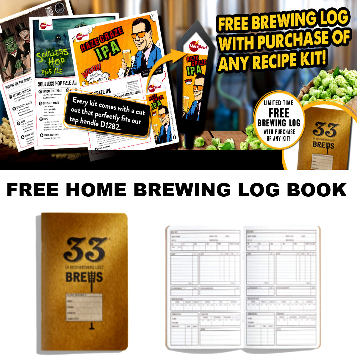 MoreBeer Get A FREE Brewiing Log Book With The Purchase Of Any Recipe Kit With This MoreBeer.com Promo Code Coupon Code