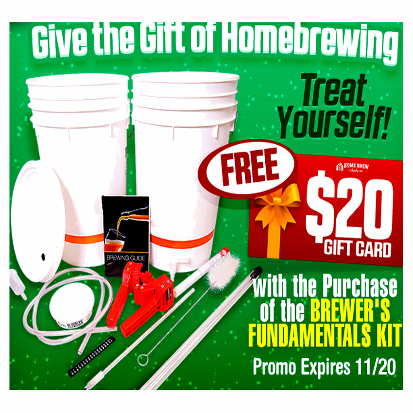 Get a $20 Gift Card with the purchase of a Home Beer Brewing Starter Kit Coupon Code