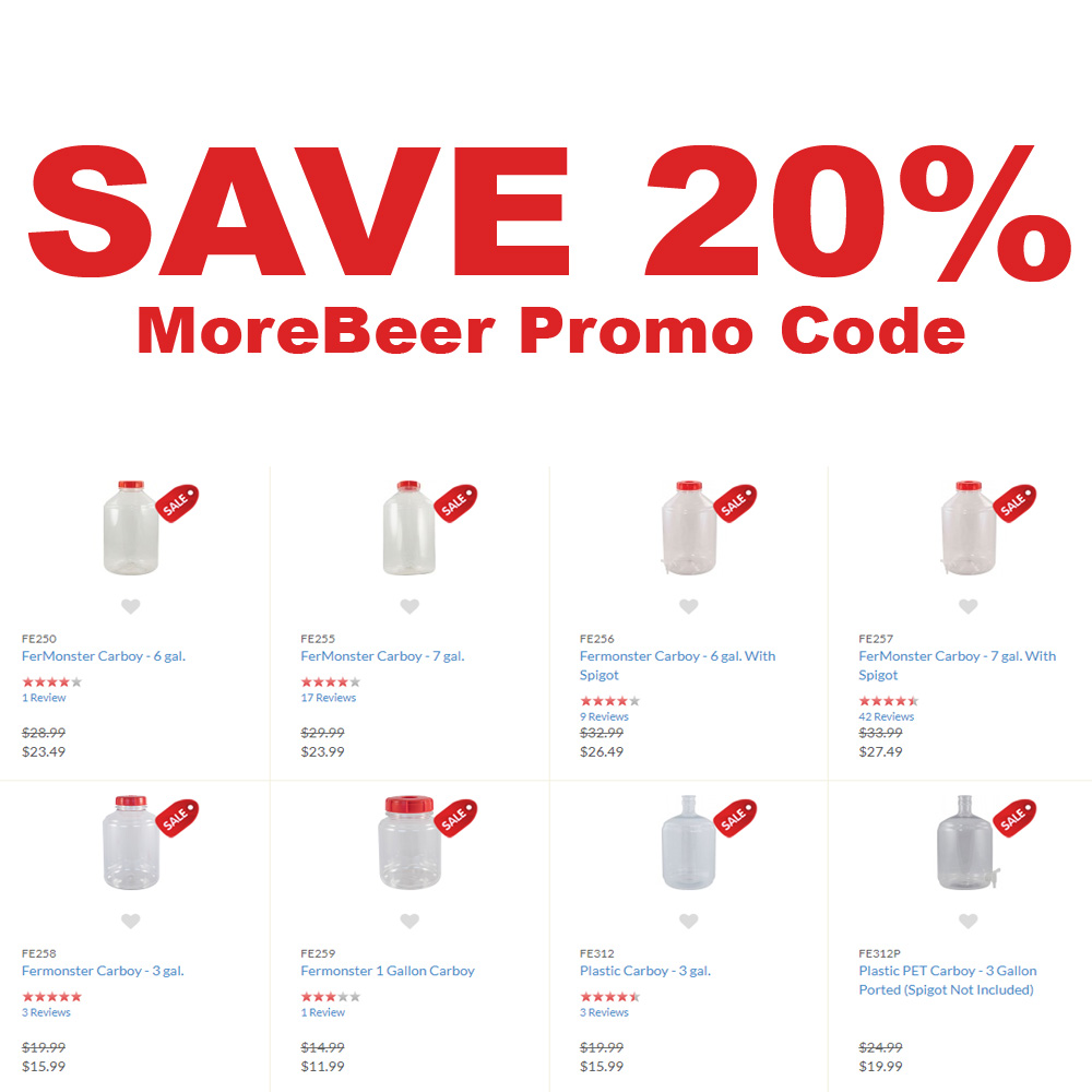 Save 20% Off Select Carboys At MoreBeer Coupon Code
