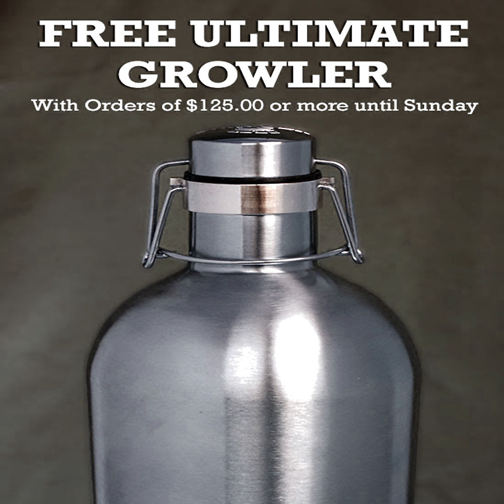 Get a Free Stainless Steel Growler with your $125+ Purchase Coupon Code