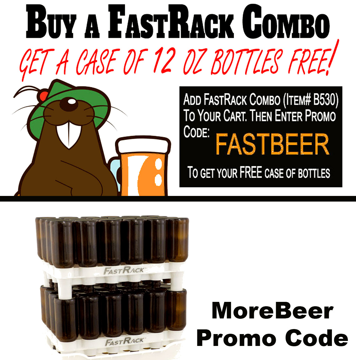 Get a Free case of Beer Bottles with your Fast Rack Purchase Coupon Code