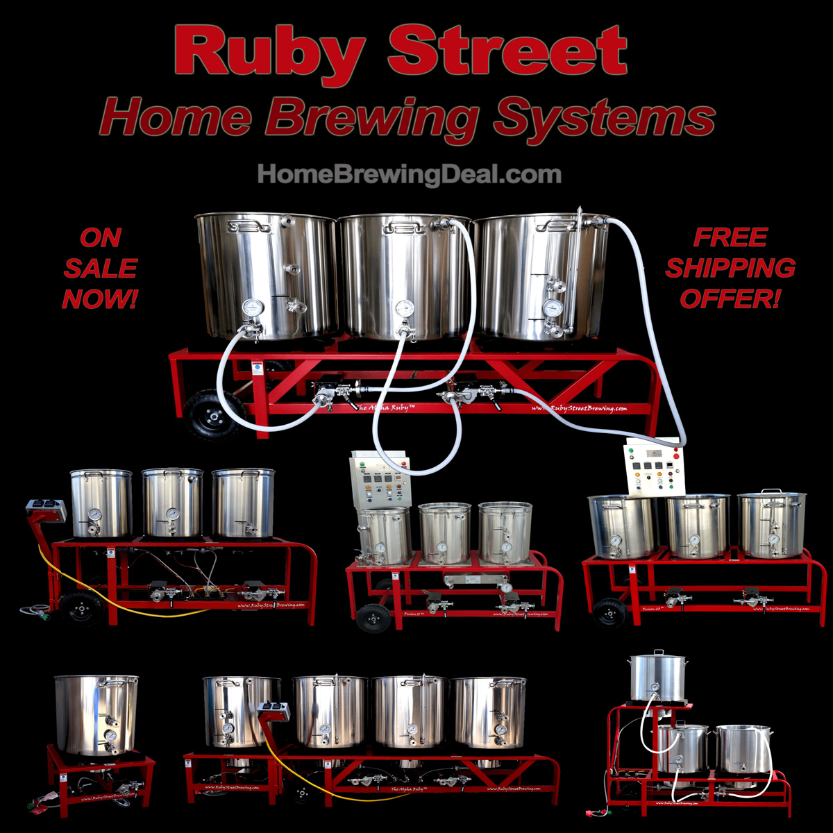 Save up to $250 and get Free Shipping on Ruby Street Homebrewing Systems Sale