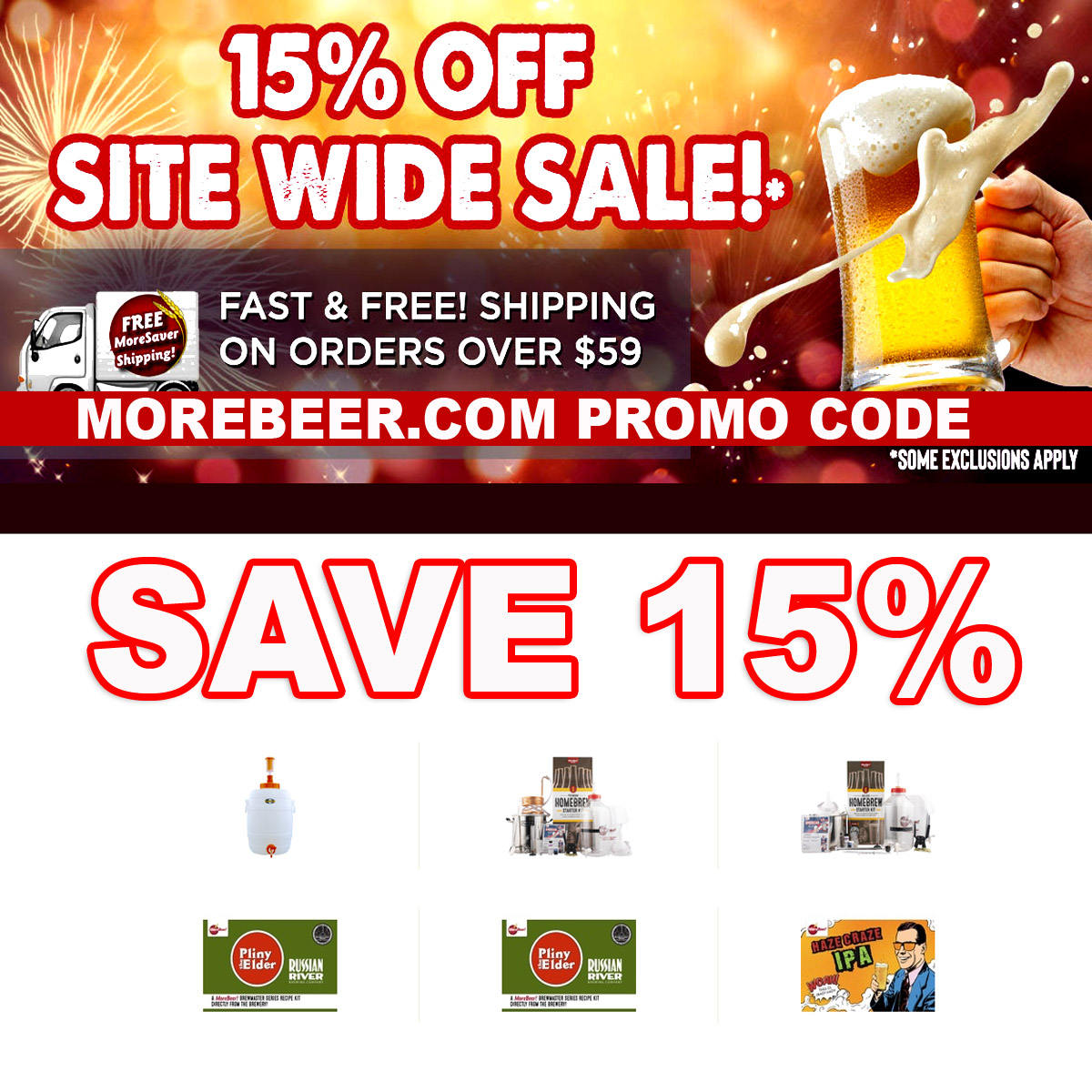 Save 15% Site Wide at More Beer with this MoreBeer.com Promo Code Coupon Code