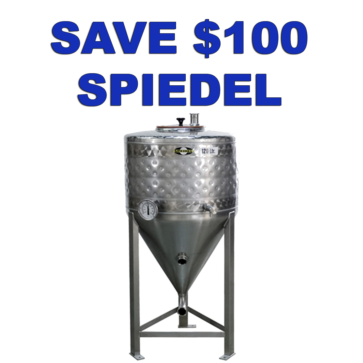 MoreBeer Save $100 On A Speidel Stainless Steel Conical Fermenter with Cooling Jacket! Coupon Code
