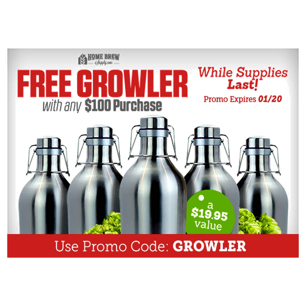 Get A Free Stainless Steel Growler With Any $100+ Purchase Coupon Code